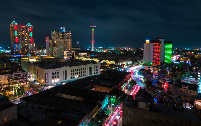 12. See Texas from a different perspective - dine at the revolving restaurant of the Tower of the Americas while you look out at the lights of San Antonio at night