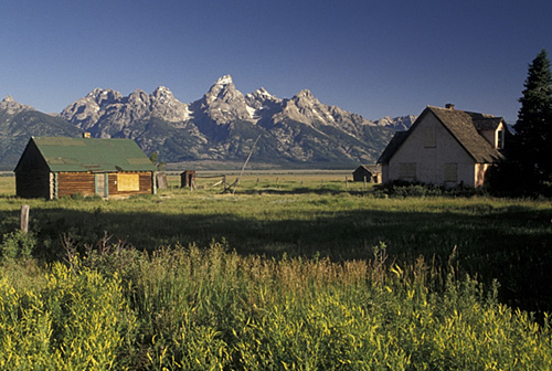 2. Abandoned ranch at Antelope Flats with a view of the Grand Teton Mountains in the background.