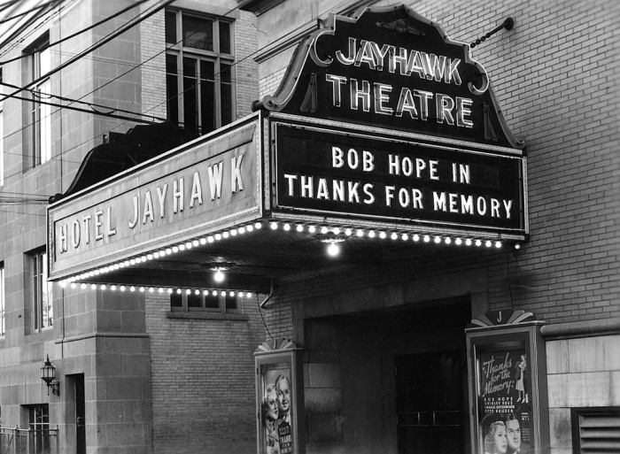 7. The Jayhawk Theatre marquee. (1938)