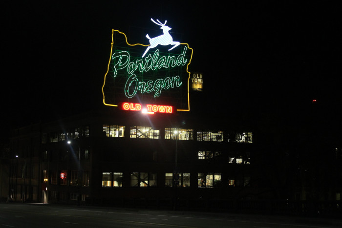 """9. This famous sign used to read """"Made In Oregon."""""""