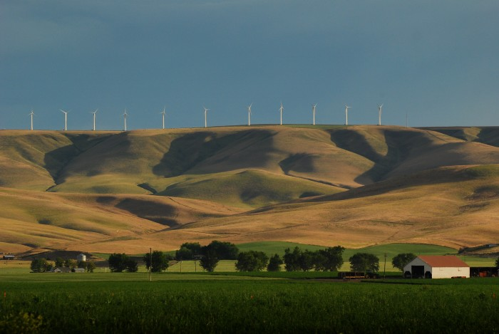 10. A peaceful landscape at a wind farm in Touchet, a small town by Walla Walla.