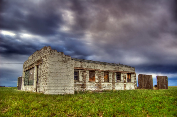 7. This is an abandoned service station between Cheyenne and Pine Bluffs.