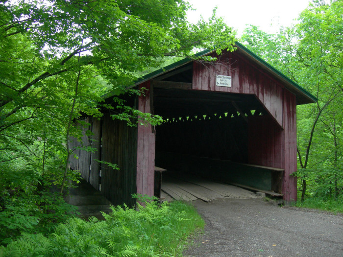 7.  Over the river and through the woods to Hutchins Covered Bridge near Montgomery.