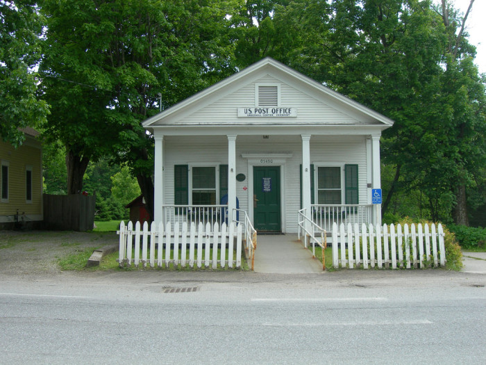 9.  Small-town post office in Underhill Center, complete with white picket fence.
