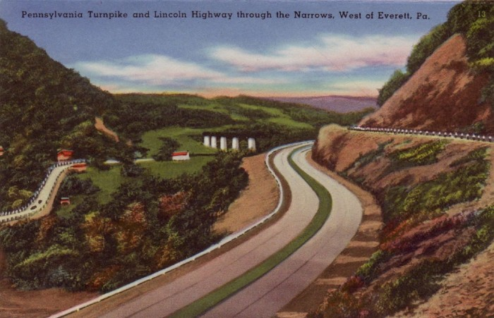 "15. ""Pennsylvania Turnpike and Lincoln Highway through the Narrows, West of Everett, Pa."""