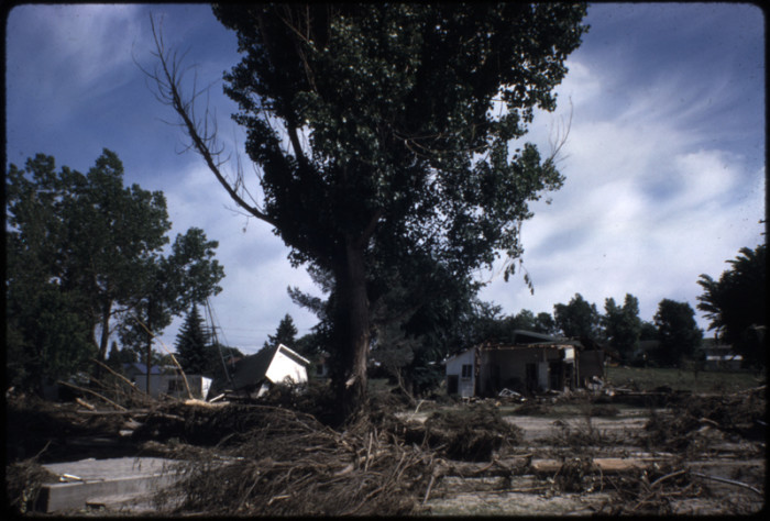 """12. """"View of damage from June 1965 flood of Plum Creek. Several damaged white buildings are in the photo, including what looks like at least two sheds and a house with the front wall torn off. The base of a metal windmill is visible in the background, and a cement step or foundation is in the foreground. Several large trees are still standing, and other trees and brush are strewn throughout the photograph. A small view of Plum Creek is visible in the background."""""""