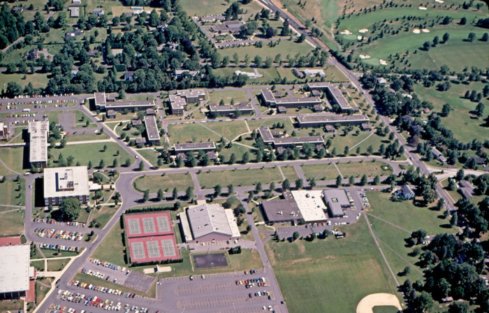 4. An aerial view of Rider College (now University) in 1974.