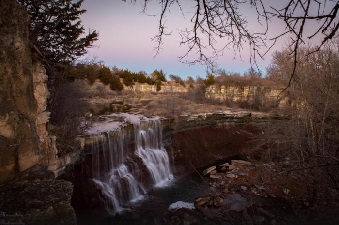 7. Cowley Lake Waterfall (Arkansas City)