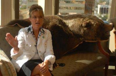 1. Sarah Palin with her bear throw.