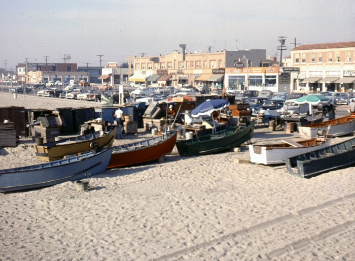 4. Dory Fleet in Newport Beach photographed in the 60s. If you look closely you can see Owl Rexall Drugs in the background.