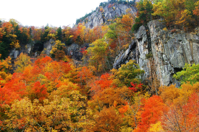 7. This view of Crawford Notch makes us want to learn rock climbing.