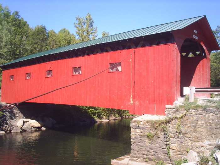 11.  Vibrant reds can make the covered bridges even more charming.