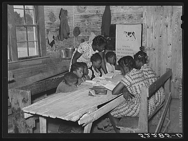 3. Taken in 1939, this photo shows the interior of the school on Mileston Plantation in the Delta.