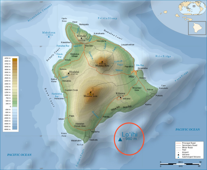3) The next Hawaiian island, Loihi is currently forming and is expected to reach sea level in approximately 250,000 years.