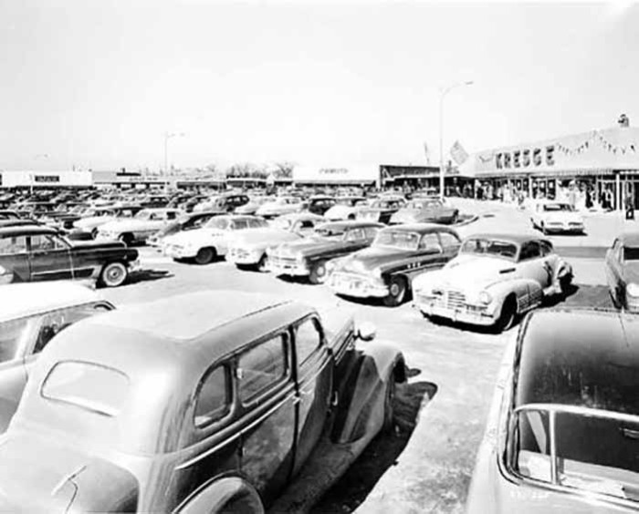7. This was a busy day at the Hub Shopping Center in 1954!