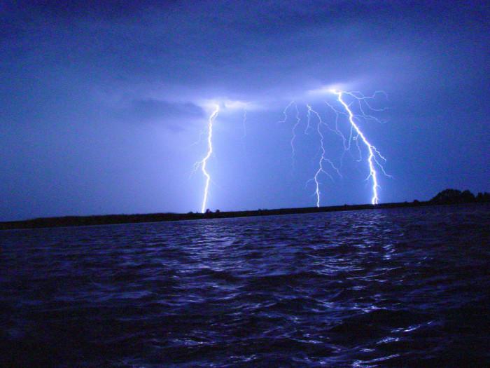 15) Lightning strikes over the Chesapeake Bay.