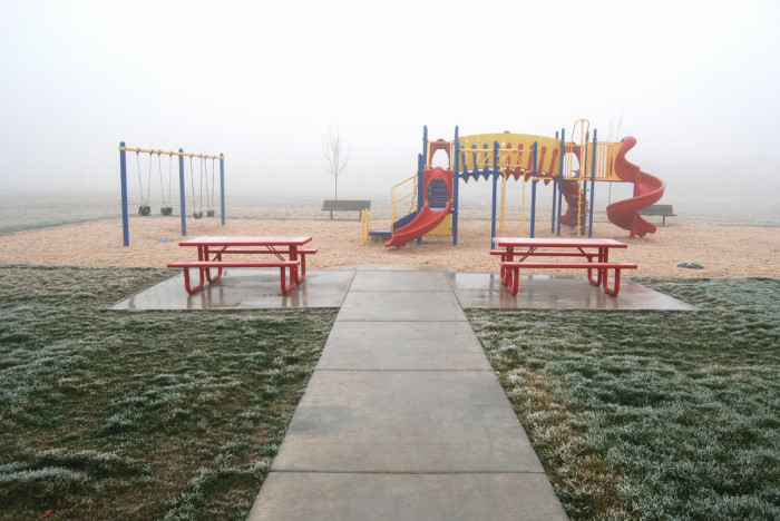 16. Even this cheerful playground in Nampa is rendered more haunting against a backdrop of icy fog.