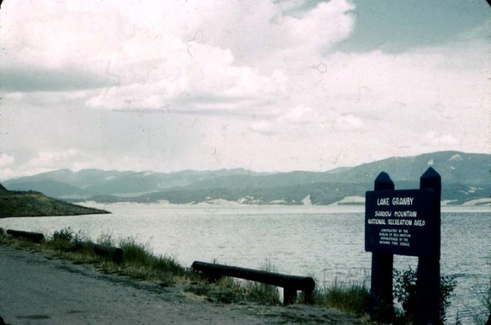 """7. """"Sign reads 'Lake Granby Shadow Mountain National Recreation Area constructed by the Bureau of Reclamation of the National Park Service."""" (1963)"""