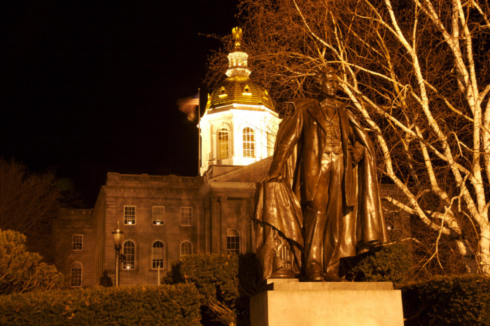 11. The capitol is illuminated at night.