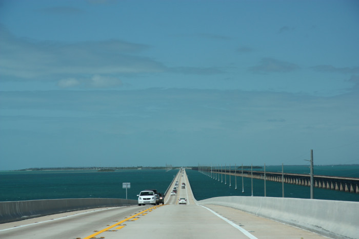 The Seven-Mile Bridge with the old railway visible in the background.