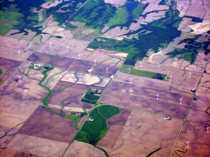 """3. This photo shows part of the """"Top of Iowa"""" wind farm near Joice - and from quite a different angle than we usually see these things!"""