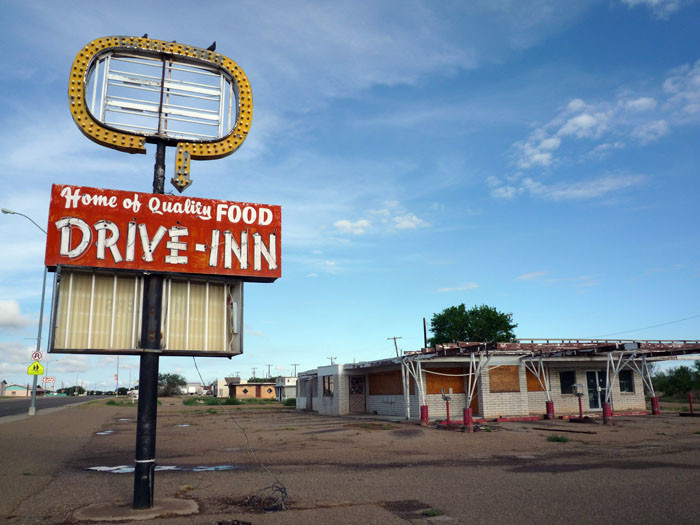 3. The sign is the best-preserved part of this vacant restaurant in Tucumcari.