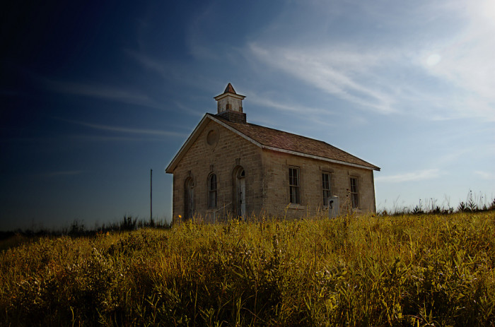 "1. ""Lower Fox Creek Schoolhouse: You can't photograph in the Flint Hills and not take the time for at least one photoshoot here."""