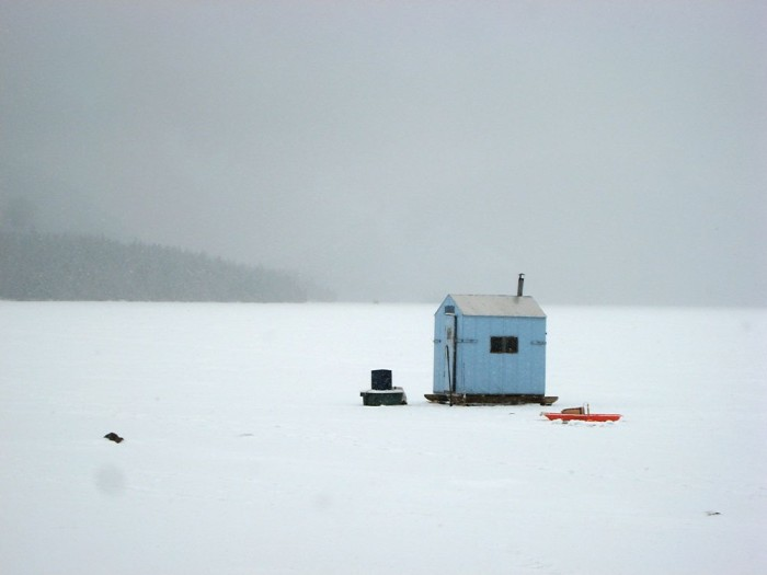 5. Ice fishing on Eagle Lake on a cozy day.