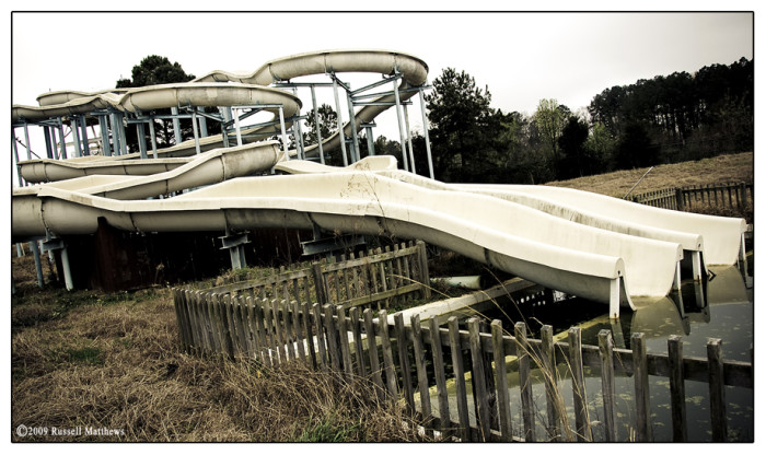 4. Opened in 1983, Rapids on the Reservoir was at one time a lively water park, encompassing 25 fun-filled acres. Sadly, the park was closed around 2008. The former local favorite now sits in disarray, reminding locals of what used to be.