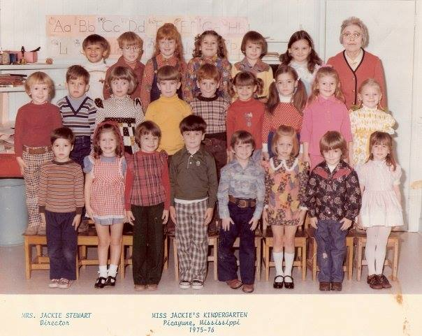 4. The class photo of Jackie Stewart and her 1975 – 1976 kindergarten class.