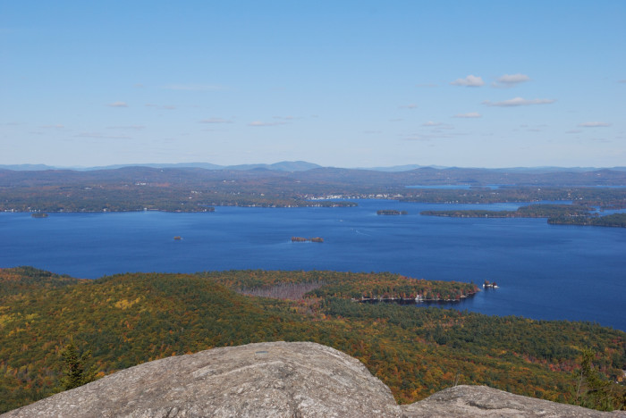 2. The blue waters of Lake Winnipesaukee and the surrounding green hills show the colors of New Hampshire.