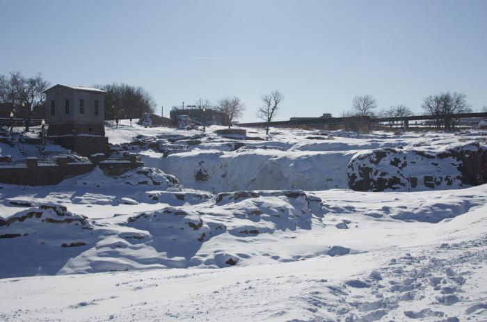 Frozen falls in winter - spots in south dakota