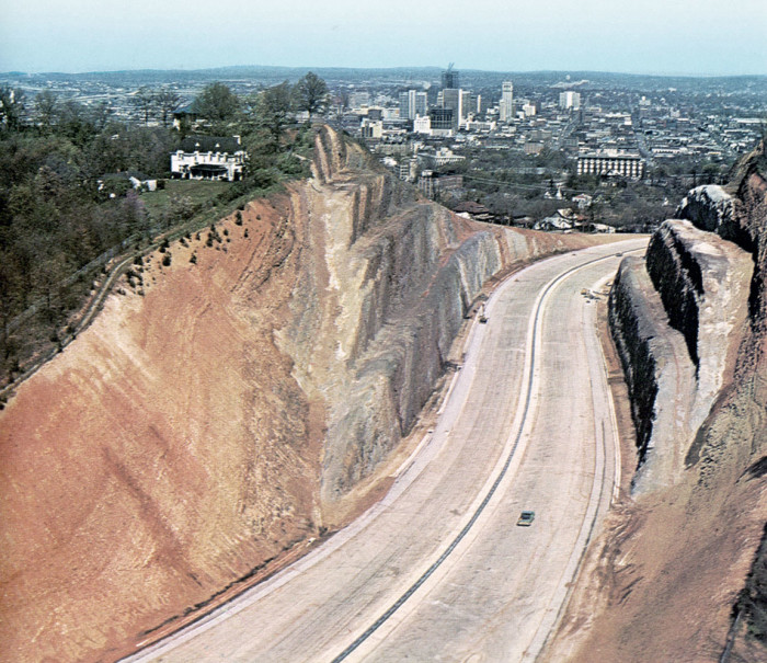 5. The Red Mountain cut through for Highway 31/280 in Birmingham, 1970.
