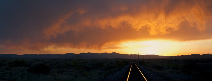 14. And these desolate railroad tracks with wispy clouds swirling overhead drive that point home. (Marathon)