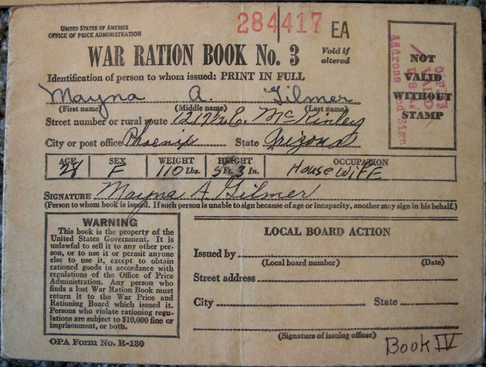 3. During World War II, most commodities were rationed in order to avoid shortages. This is an old ration book for a Phoenix resident from the time period.