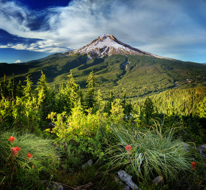 "Mt Hood is part of the Cascade Volcanic Arc, and is considered a ""potentially active"" volcano."