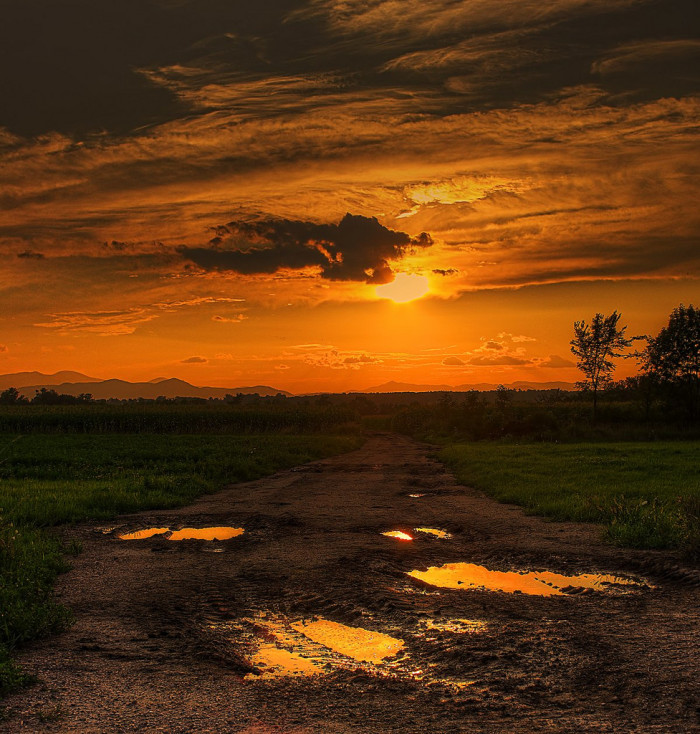 2.  Sunset on a dirt road in Addison.  Who says mud season isn't beautiful?