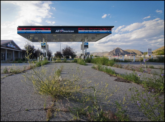 18. An abandoned gas station in Cokeville.