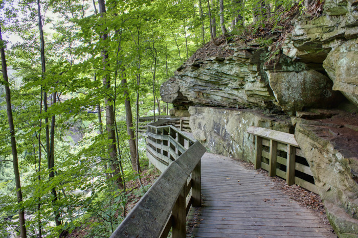 Wooden pathways and stairs lead the way to Brandywine Falls---which you can hear before you see: