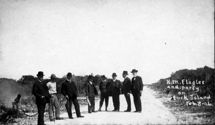 Florida East Coast Railway, Key West Extension. Henry M. Flagler and a party of 7 men inspecting the work on the railroad on Stock Island on February 8, 1906.