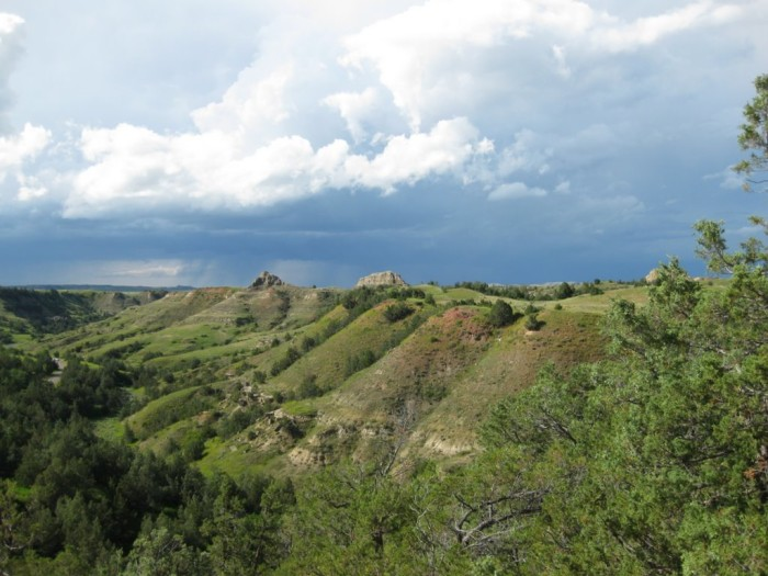 1. A storm approaching these hills in Theodore Roosevelt National Park.