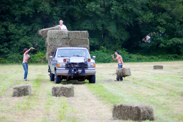 2. Throwing thousands of hay bales every season gives us a little extra backbone, too.