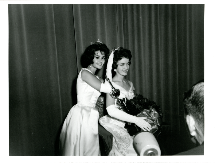 5. The passing of the infamous crown is captured in this stunning photograph as Miss Mississippi 1960, Pat McRaney, crowns the 1961 queen, Annice Ray Jernigan.