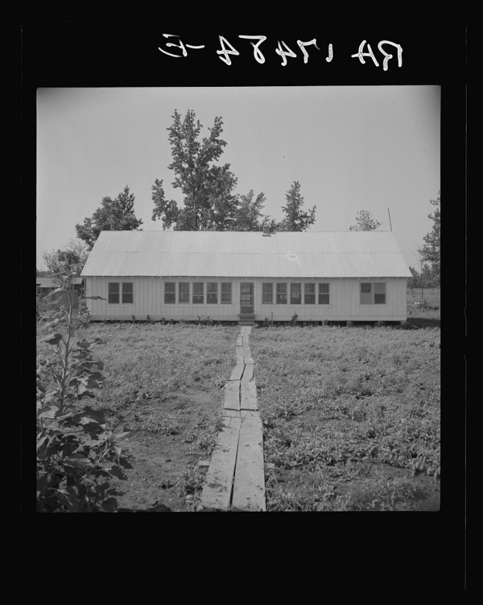 5. This community building at the Delta cooperative farm Hillhouse houses the school in addition to the library, clinic, and meeting rooms, circa 1937.