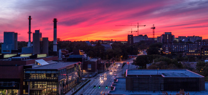 5. The simple Iowa City skyline is magnified by a beautiful pink sunset.
