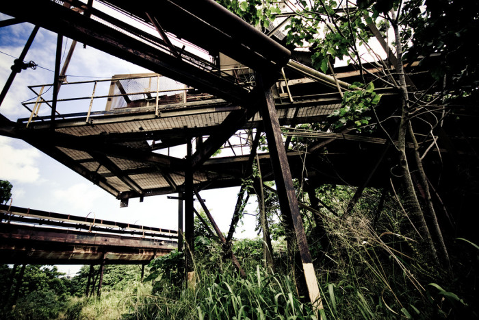 5) A decrepit factory that has been left in ruins on Kauai.