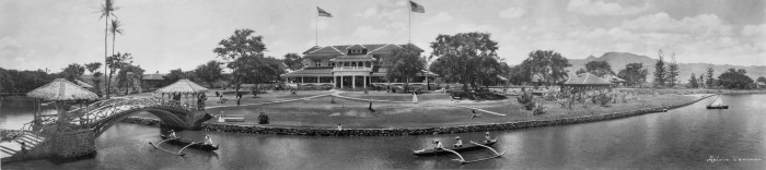 5. A panoramic view of the Haleiwa Hotel, circa 1902. This luxury resort was built a year before Waikiki built its first grand hotel.
