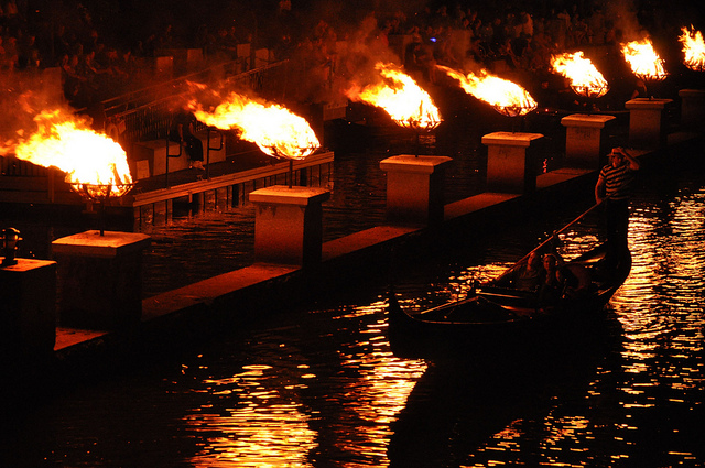 11. This gondola passing by the fires of the Providence Waterfire is an amazing site.