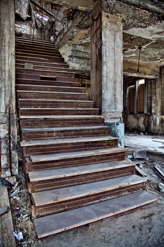 Old staircase in Union Station, Gary, Indiana