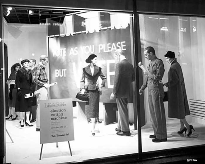 12. In 1956, the window of Dayton's was promoting voting for the upcoming election!